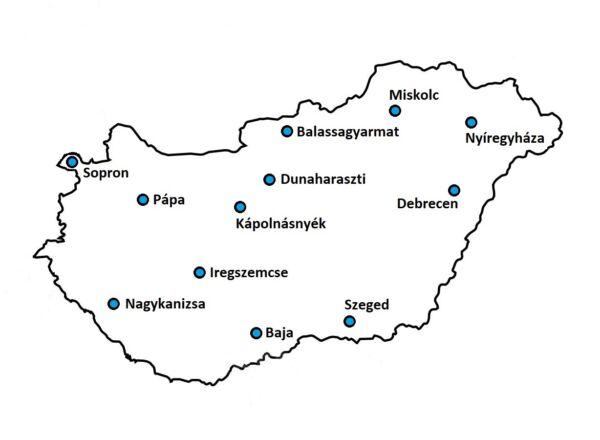 Országos szervizhálózatunk: Baja, Szeged, Dunaharaszti, Sopron, Debrecen